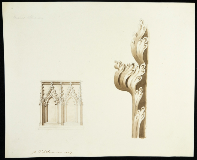 Architectural drawing of ornaments by Thomas Atkinson - 1827
