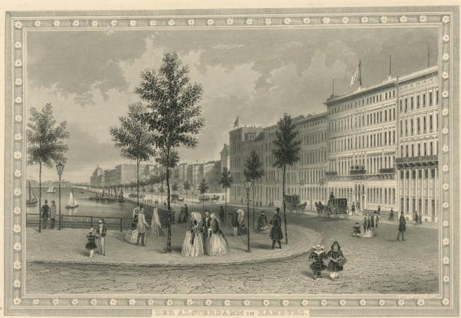 Der Alsterdamm in Hamburg 1852
