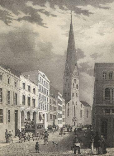HAMBURG-Die-Bergstrasse-mit-der-Petrikirche-1840